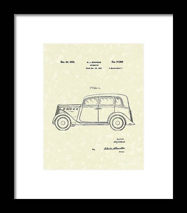 Edwards Framed Print featuring the drawing Automobile 1935 Patent Art by Prior Art Design