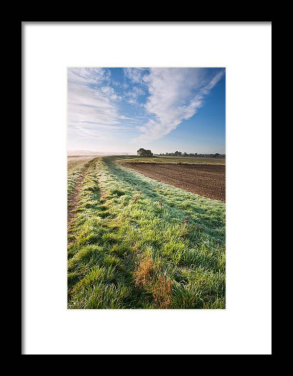 Landscape Framed Print featuring the photograph Autumn Dawn Landscape Over Frosty Misty Fields by Matthew Gibson