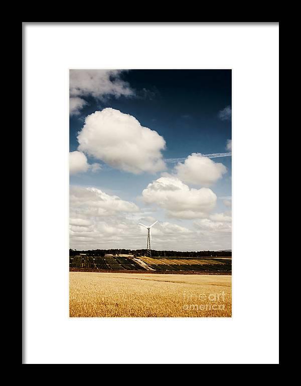 Turbine Framed Print featuring the photograph Autumn Landscape Of A Sustainable Tasmanian Farm by Jorgo Photography - Wall Art Gallery