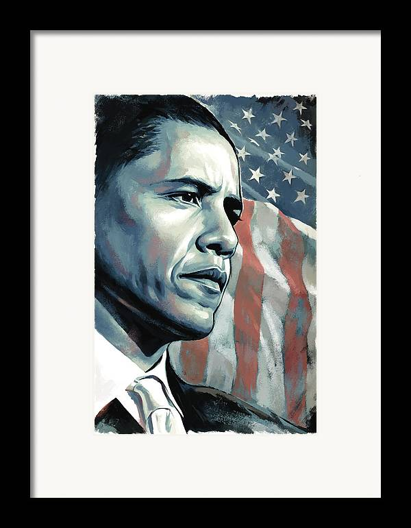 Barack Obama Paintings Framed Print featuring the painting Barack Obama Artwork 2 by Sheraz A