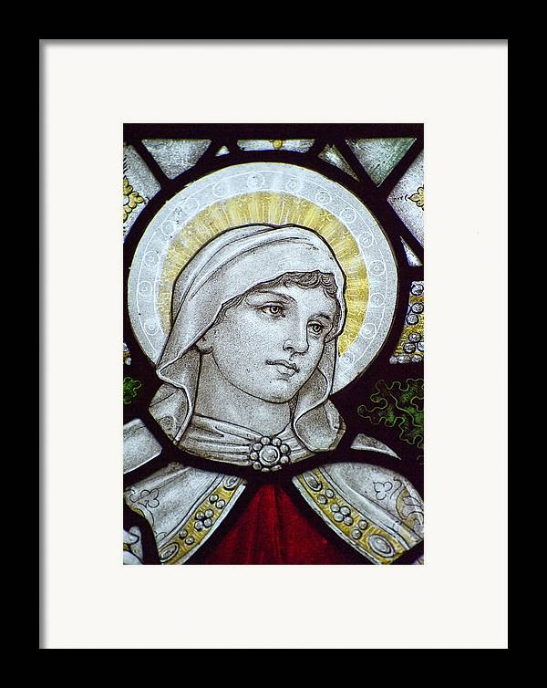 Stained Framed Print featuring the photograph Beautiful Stained Glass Window Detail In 15th Century Saxon Chur by Matthew Gibson