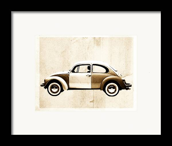 Beetle Framed Print featuring the digital art Beetle Car by David Ridley