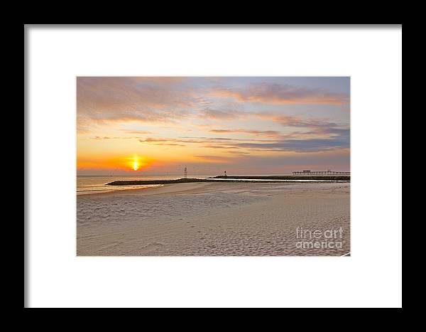 Beach Framed Print featuring the photograph Belmar Sunrise by Suzanne Kelly