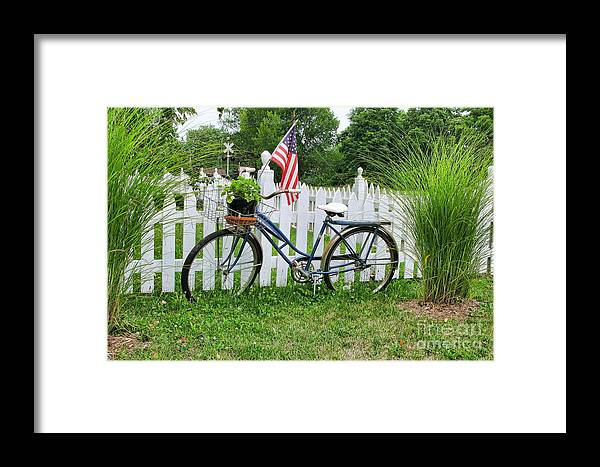 Bicycle Framed Print featuring the photograph Bicycle And White Fence by Jack Schultz