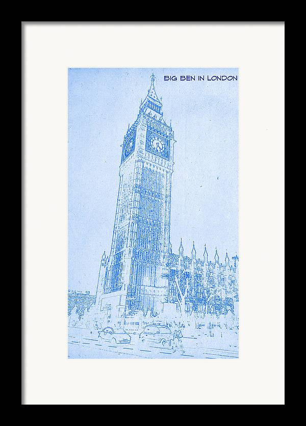 Big ben in london blueprint drawing framed print by motionage big ben in london blueprint drawing framed print featuring the digital art big ben in malvernweather Image collections