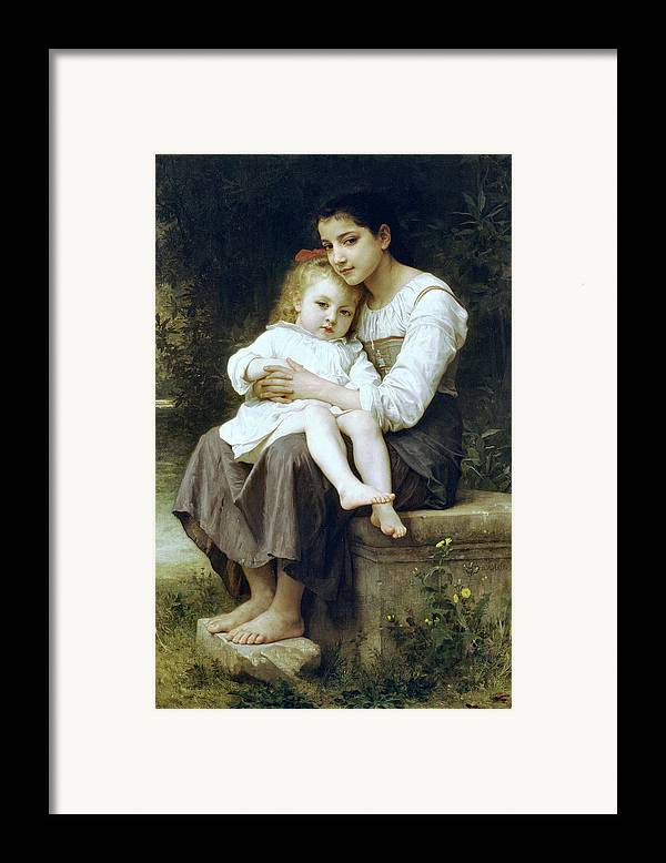 Big Sister Framed Print featuring the digital art Big Sister by William Bouguereau