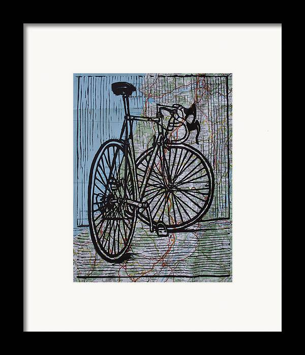Bike Framed Print featuring the drawing Bike 4 On Map by William Cauthern