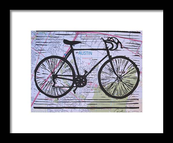Bike Framed Print featuring the drawing Bike 8 On Map by William Cauthern