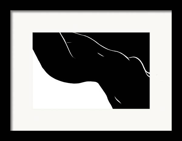 Black White Female Form Woman Girl Sensual Minimalism Curve Nude Naked Sexy Sexual Erotic Modern Art Ying Yang Symbol Expressionism Impressionism Butt Tits Boobs Framed Print featuring the painting Black Magic Woman by Steve K