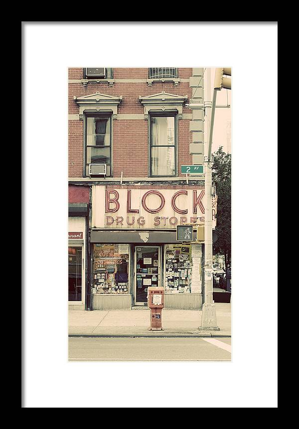 Manhattan Framed Print featuring the photograph Block Drug Store by Newyorkcitypics Bring your memories home