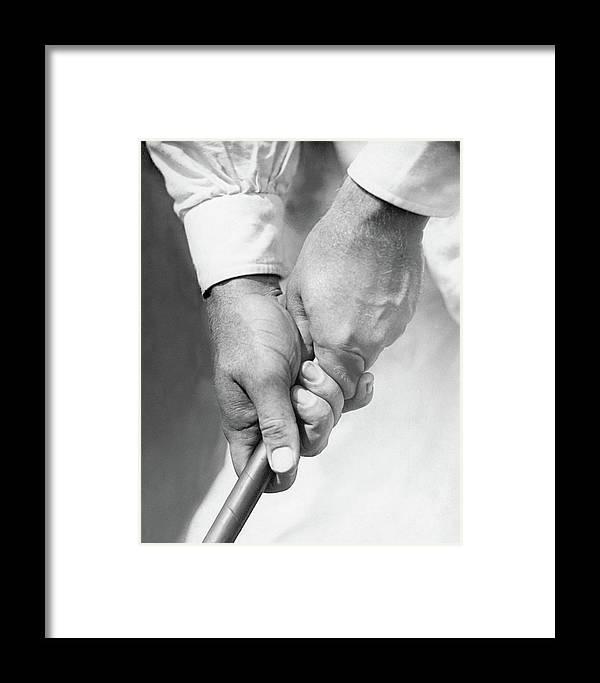 Bobby Jones Holding A Golf Club Framed Print by O. B. Keeler