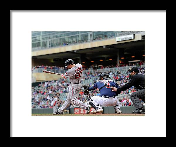 Ninth Inning Framed Print featuring the photograph Boston Red Sox V Minnesota Twins by Hannah Foslien