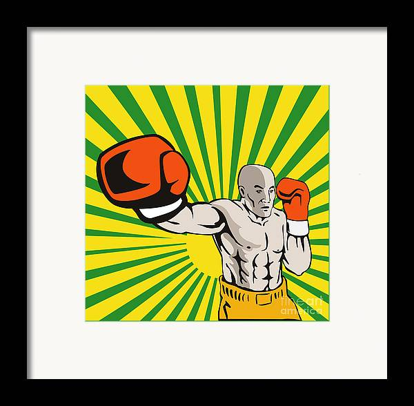 Boxer Framed Print featuring the digital art Boxer Boxing Jabbing Front by Aloysius Patrimonio