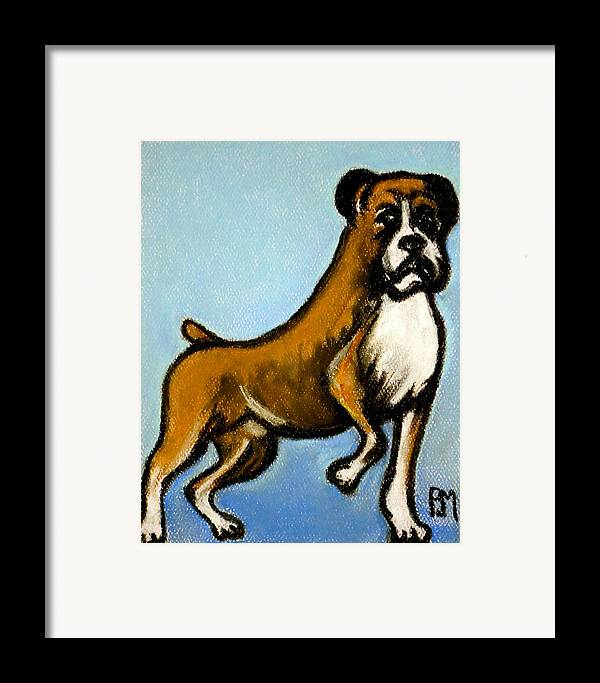 Boxer Framed Print featuring the drawing Boxer by Pete Maier