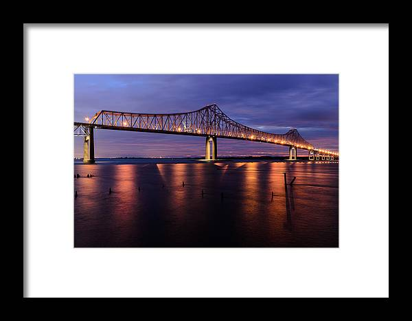 Nature Framed Print featuring the photograph Commmodore Barry Bridge In The Blue Hour by AE Jones