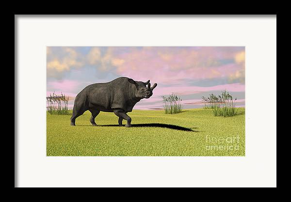 Three Dimensional Framed Print featuring the digital art Brontotherium Grazing In Prehistoric by Kostyantyn Ivanyshen