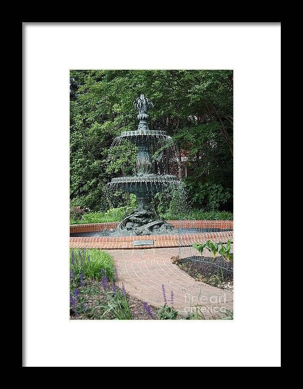 Fountain Framed Print featuring the photograph Bronze Fountain Annapolis by Christiane Schulze Art And Photography