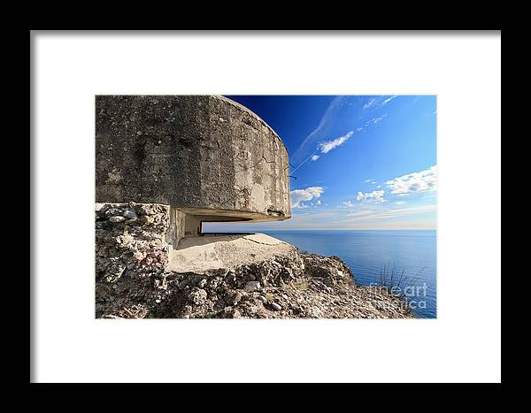Abandoned Framed Print featuring the photograph Bunker Over The Sea by Antonio Scarpi