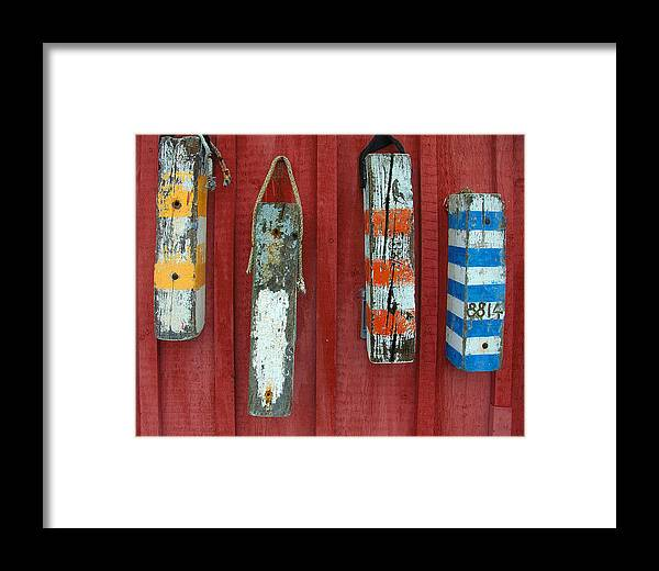 Rockport Framed Print featuring the photograph Buoys At Rockport Motif Number One Lobster Shack Maritime by Jon Holiday