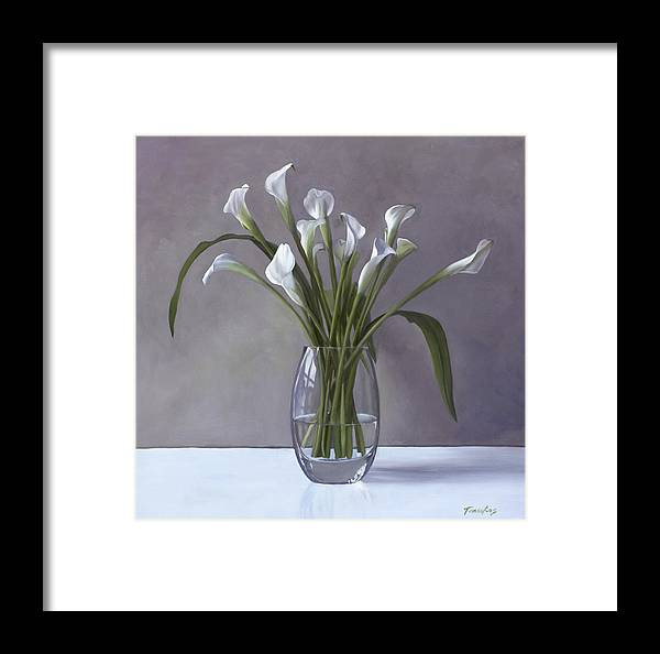 Calla Lilies In A Vase Framed Print By Linda Tenukas