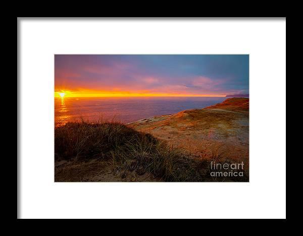 Cape Kiwanda Framed Print featuring the photograph Cape Kiwanda Sunset by Matt Hoffmann