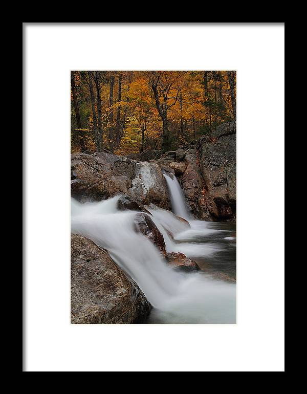 Autumn Framed Print featuring the photograph Cascades Of Glen Ellis Falls In Autumn by Jetson Nguyen