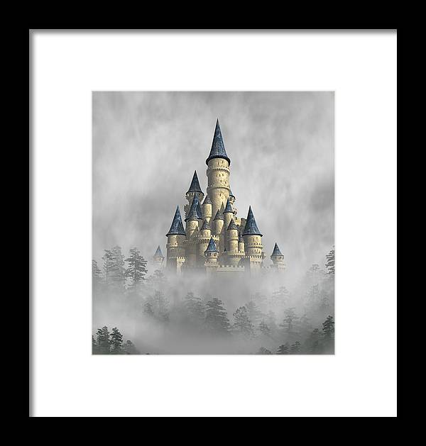 Fantasy Framed Print featuring the digital art Castle In The Clouds by David Griffith
