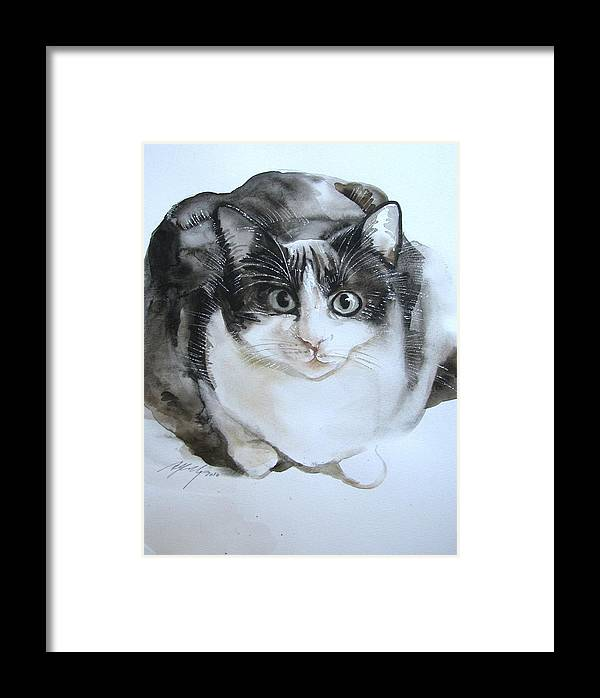 Cat Framed Print featuring the painting Cat In Black And White by Alfred Ng