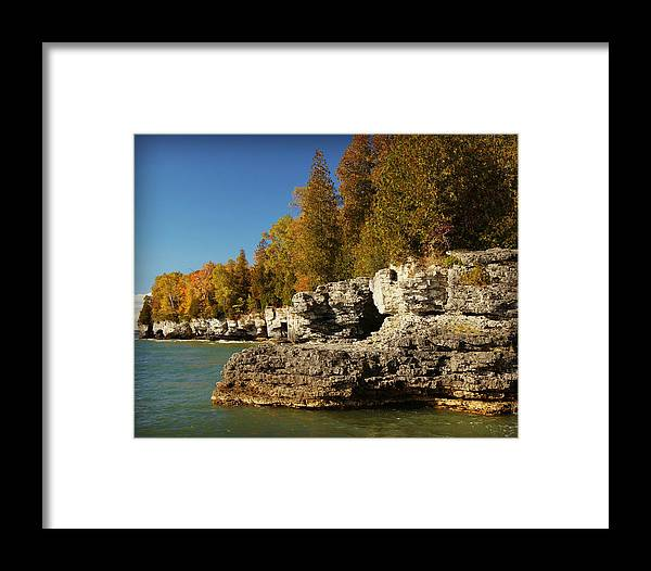 Collections By Carol Framed Print featuring the photograph Cave Point County Park Door County Wisconsin by Carol Toepke