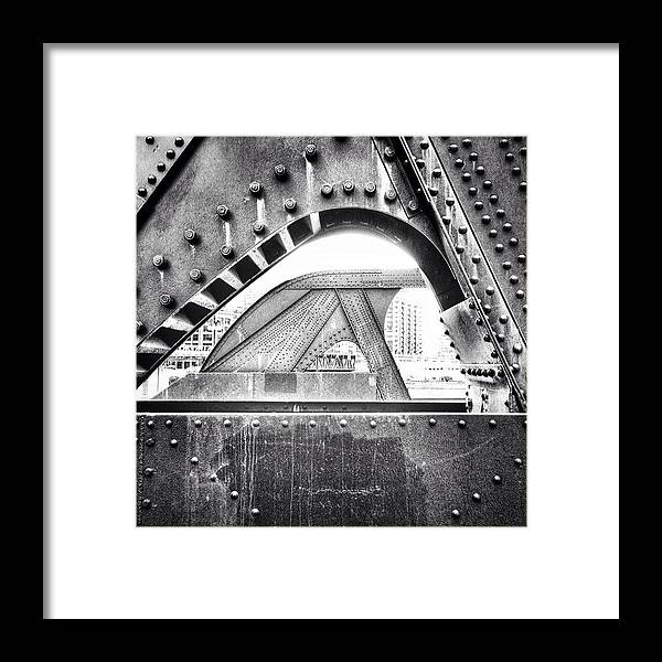 Bridge Framed Print featuring the photograph Chicago Bridge in Black and White by Paul Velgos