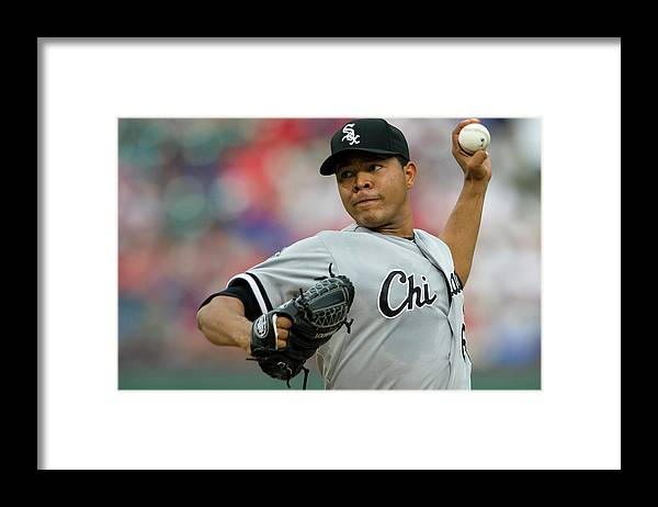 American League Baseball Framed Print featuring the photograph Chicago White Sox V Texas Rangers by Cooper Neill