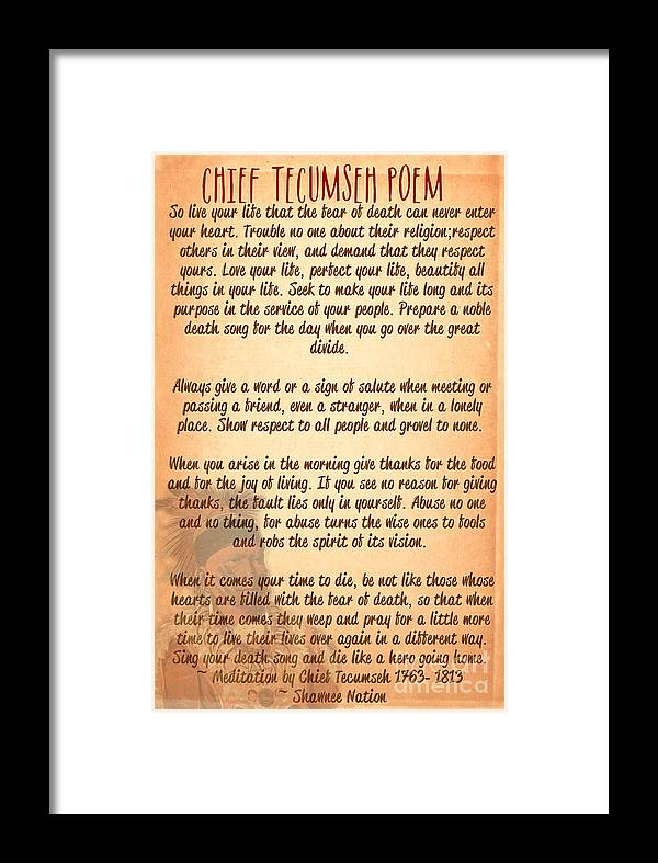Chief Tecumseh Poem Live Your Life Framed Print By Celestial Images