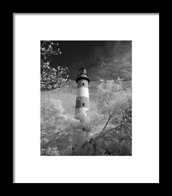 Red Framed Print featuring the photograph Chincoteague Island Lighthouse by Jack Nevitt