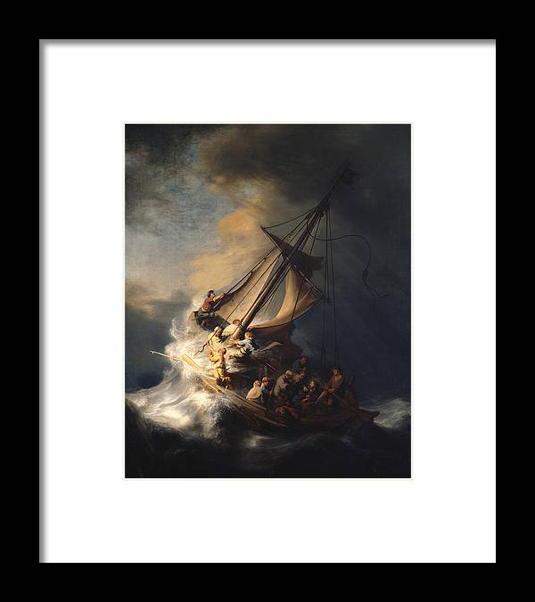 Rembrandt Van Rijn Framed Print featuring the painting Christ In The Storm On The Sea Of Galilee by Rembrandt Van Rijn
