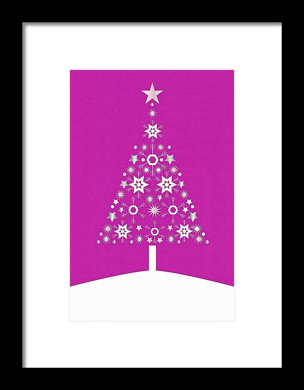 Tree Framed Print featuring the digital art Christmas Tree Made Of Snowflakes On Pink Background by Taiche Acrylic Art