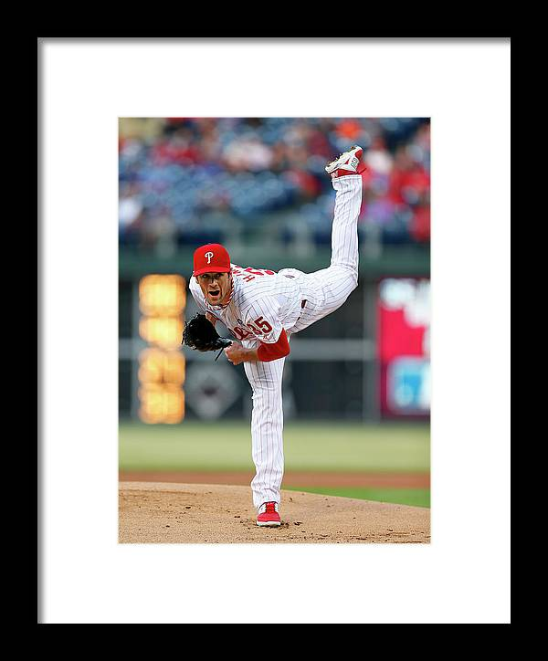People Framed Print featuring the photograph Cincinnati Reds V Philadelphia Phillies 1 by Rich Schultz