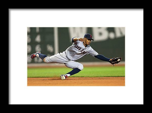 People Framed Print featuring the photograph Cleveland Indians V Boston Red Sox 1 by Jim Rogash