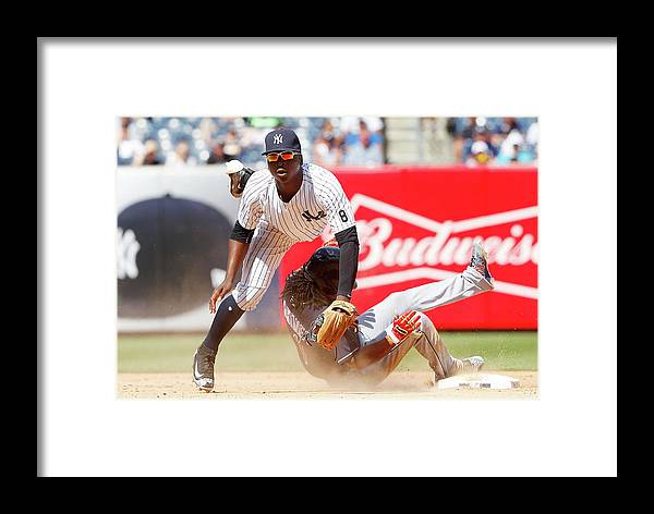 Double Play Framed Print featuring the photograph Cleveland Indians V New York Yankees 1 by Jim Mcisaac