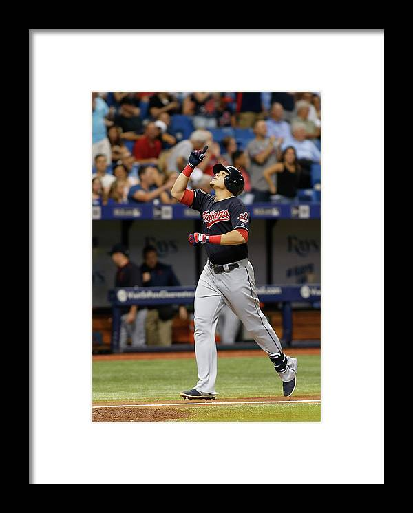 Following Framed Print featuring the photograph Cleveland Indians V Tampa Bay Rays by Brian Blanco