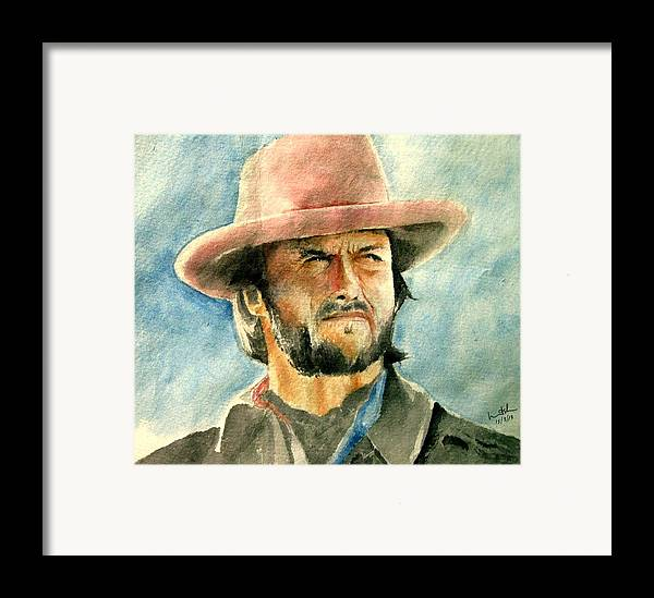 Clint Eastwood Framed Print featuring the painting Clint Eastwood by Nitesh Kumar