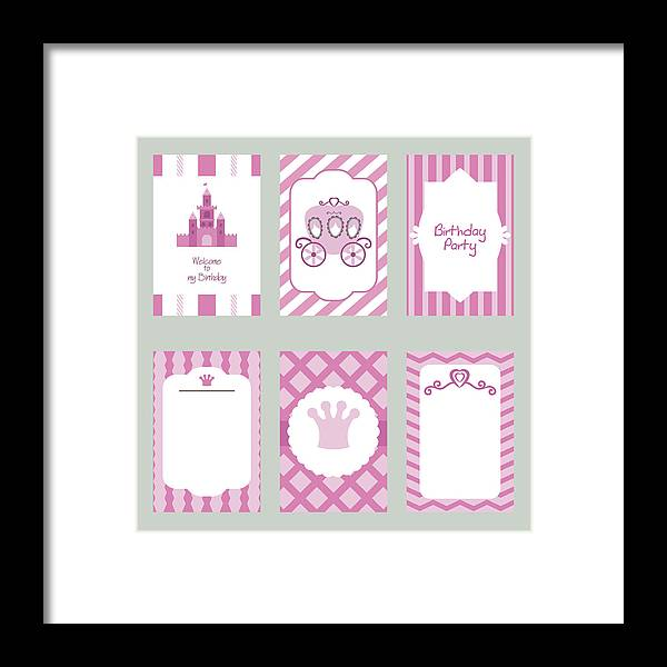 Elegance Framed Print Featuring The Drawing Collection Of Cute Birthday Cards By Nina Piankova
