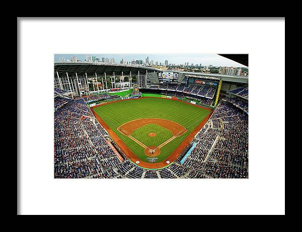 American League Baseball Framed Print featuring the photograph Colorado Rockies V Miami Marlins by Mike Ehrmann