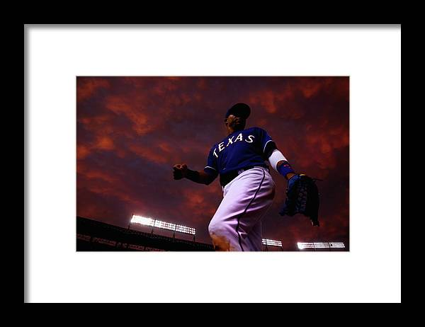 American League Baseball Framed Print featuring the photograph Colorado Rockies V Texas Rangers by Tom Pennington