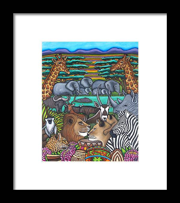 Africa Framed Print featuring the painting Colours of Africa by Lisa Lorenz