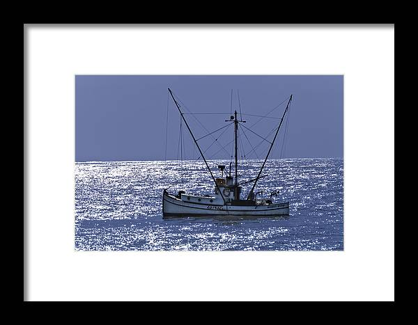 Commercial Fishing Boat Framed Print featuring the photograph Commercial Fishing Boat Dickey Byrd Out Of Half Moon Bay by Scott Lenhart