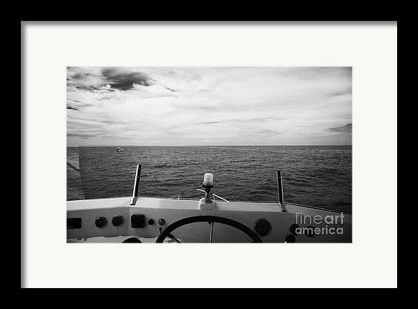 Charter Framed Print featuring the photograph Controls On The Flybridge Deck Of A Charter Fishing Boat In The Gulf Of Mexico Out Of Key West Flori by Joe Fox