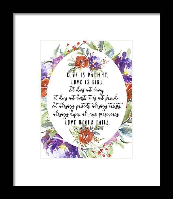 1 Corinthians 13 4 7 8 Framed Print By Tara Moss