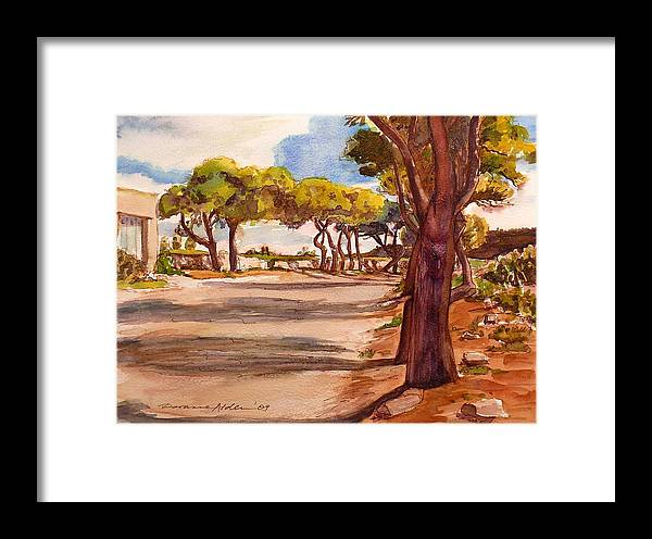 Landscape Framed Print featuring the painting Country Lane by Doranne Alden