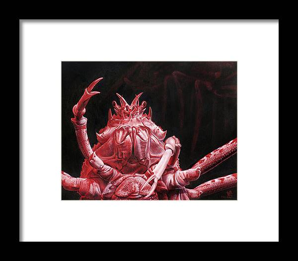 Crab Framed Print featuring the painting Crustacean Salutation by Cara Bevan