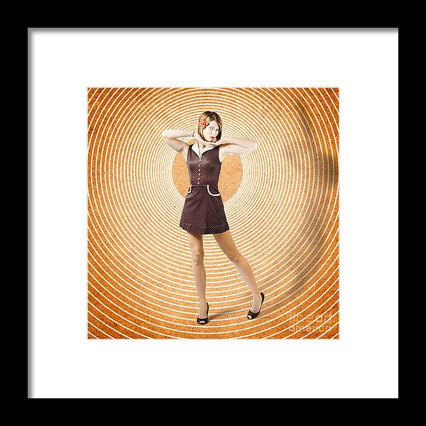 Cute Retro Pinup Girl In Time Warp. Tattoo Design Framed Print by ...